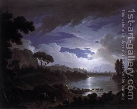 Moonlit Scene on the Tiber near Rome by Michael Wutky - Reproduction Oil Painting