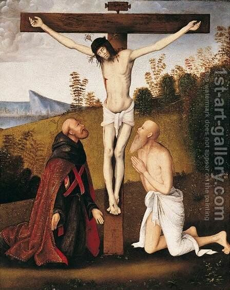 Christ on the Cross with St Jerome and an Augustinian Saint by Bernardino di Bosio (see ZAGANELLI) - Reproduction Oil Painting