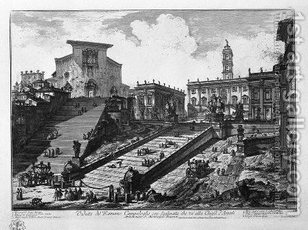 View of the Roman Capitol, with the staircase that goes to the Church of Araceli by Giovanni Battista Piranesi - Reproduction Oil Painting