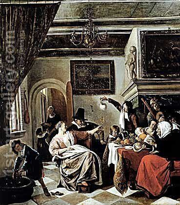 Family holiday by Jan Steen - Reproduction Oil Painting