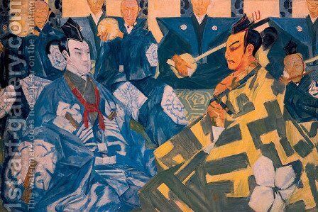 Japanese Theatre (Kabuki) by Alexandre Jacovleff - Reproduction Oil Painting