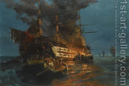 The burning of a Turkish frigate by Constantinos Volanakis - Reproduction Oil Painting