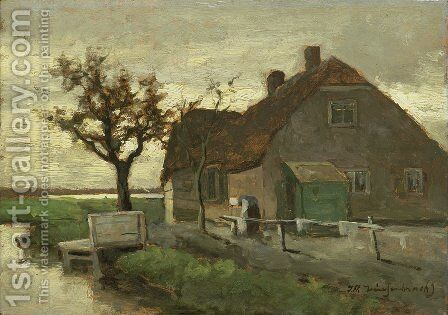Farmhouse on a canal by Jan Hendrik Weissenbruch - Reproduction Oil Painting