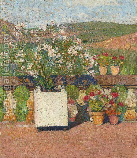 Roses and Geraniums on the Terrace at Marquayrol by Henri Martin - Reproduction Oil Painting