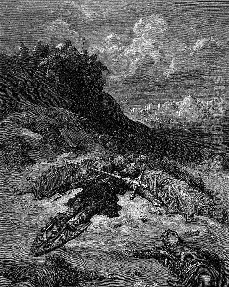 Death of Frederick I of Germany by Gustave Dore - Reproduction Oil Painting