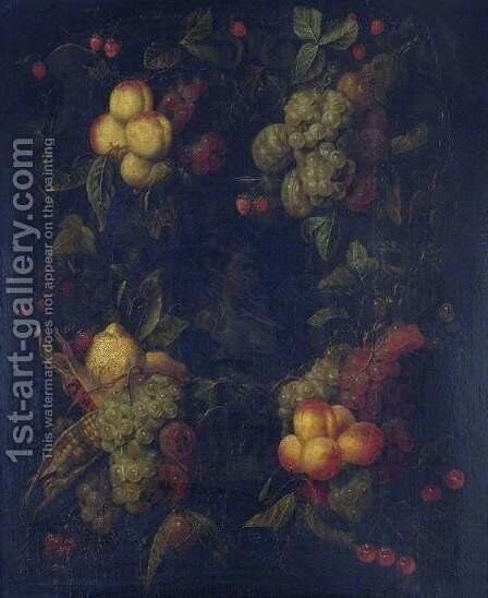 Fruit Garland Encircling a Relief by dei Fiori (Nuzzi) Mario - Reproduction Oil Painting