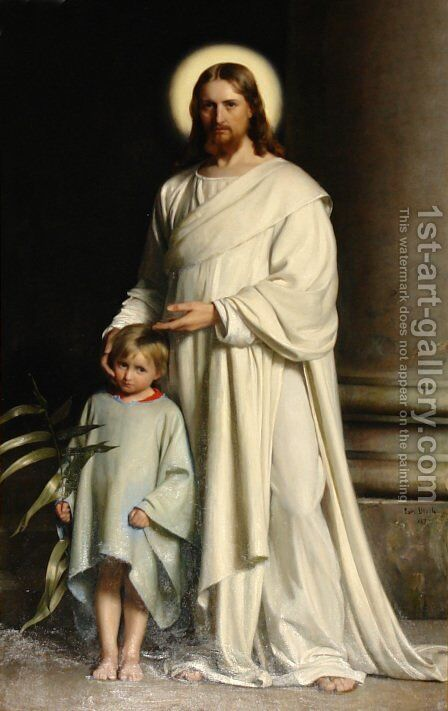 Christ and Child by Carl Heinrich Bloch - Reproduction Oil Painting