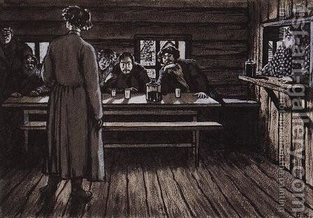 Illustration for Singers by Ivan Turgenev by Boris Kustodiev - Reproduction Oil Painting