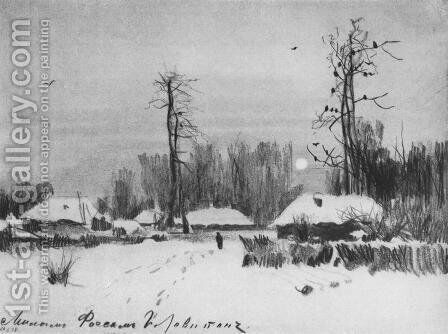 Village. Winter. by Isaak Ilyich Levitan - Reproduction Oil Painting