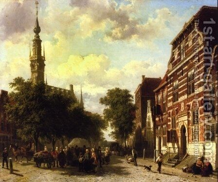 A Busy Market in Veere with the Clocktower of the Town Hall Beyond by Cornelis Springer - Reproduction Oil Painting