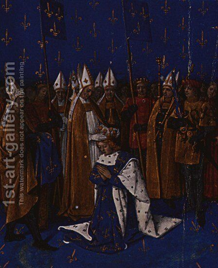 Coronation of Charles VI in 1380 in Reims by Jean Fouquet - Reproduction Oil Painting