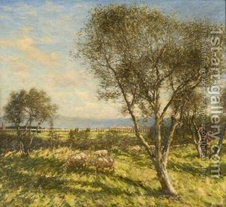 Roman Campagna by Henry Herbert La Thangue - Reproduction Oil Painting