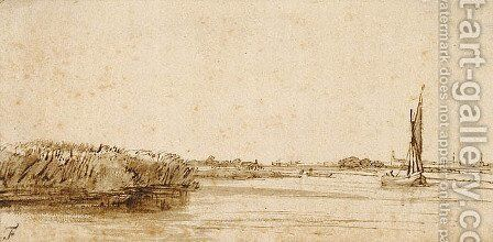 A River with a Sailing Boat on Nieuwe Meer by Rembrandt - Reproduction Oil Painting