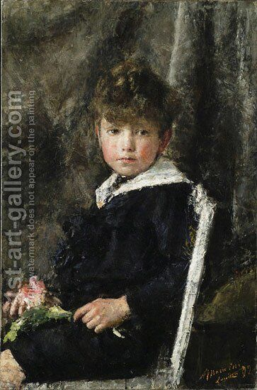 Seated Boy by Antonio Mancini - Reproduction Oil Painting
