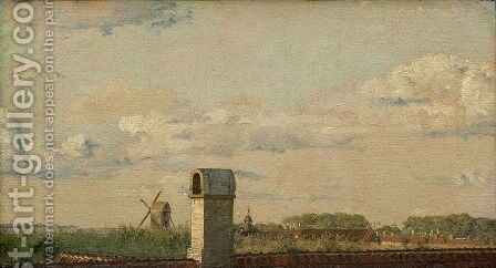 View from a Window in Toldbodvej Looking Towards the Citadel in Copenhagen by Christen Kobke - Reproduction Oil Painting