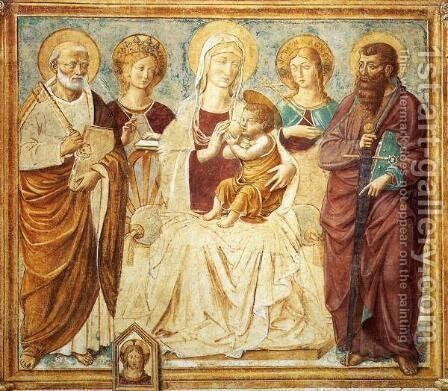 Tabernacle of the Madonna delle Tosse Maria lactans (detail) by Benozzo di Lese di Sandro Gozzoli - Reproduction Oil Painting