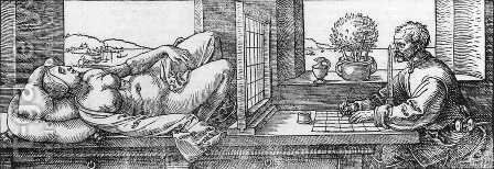 Draughtsman Drawing a Recumbent Woman by Albrecht Durer - Reproduction Oil Painting