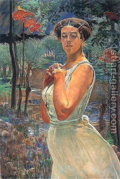 A woman in a grove by Jacek Malczewski - Reproduction Oil Painting