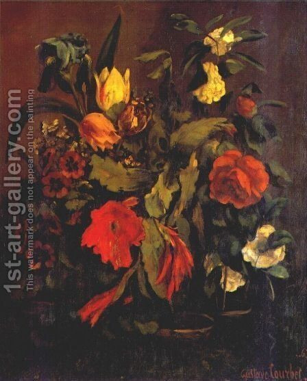 Still Life of Flowers by Gustave Courbet - Reproduction Oil Painting