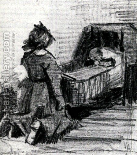 Girl Kneeling in Front of a Cradle by Vincent Van Gogh - Reproduction Oil Painting