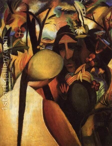 Indianer by August Macke - Reproduction Oil Painting