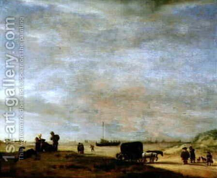 Beach at Scheveningen by Adriaen Van De Velde - Reproduction Oil Painting