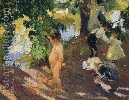 Bathing at La Granja by Joaquin Sorolla y Bastida - Reproduction Oil Painting