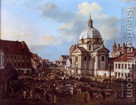 Church of the Holy Sacrament in the New Town by Bernardo Bellotto (Canaletto) - Reproduction Oil Painting