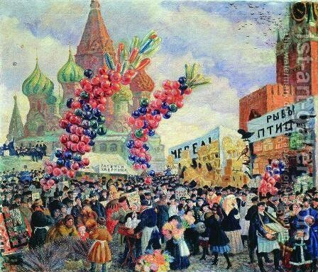 Palm Sunday near the Spassky Gate on the Red Square in Moscow by Boris Kustodiev - Reproduction Oil Painting