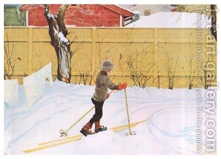 The Skier by Carl Larsson - Reproduction Oil Painting