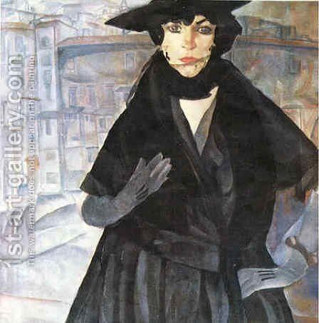 A Lady in Black by Boris Dmitrievich Grigoriev - Reproduction Oil Painting