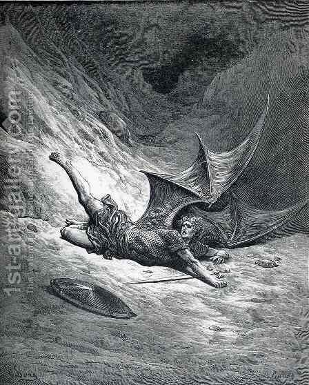 Satan Shown as the Fallen Angel after Having Been Smitten by Gustave Dore - Reproduction Oil Painting