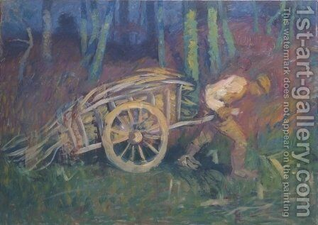 The man with the cart by Ivan Grohar - Reproduction Oil Painting
