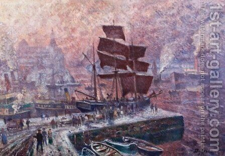 Grey weather at Pipervika, Akershus by Carl-Edvard Diriks - Reproduction Oil Painting