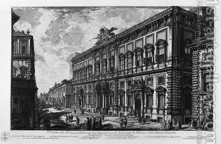 View of the Farnese Palace by Giovanni Battista Piranesi - Reproduction Oil Painting