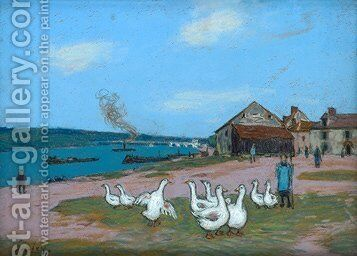 Village of Saint Mammes by Alfred Sisley - Reproduction Oil Painting