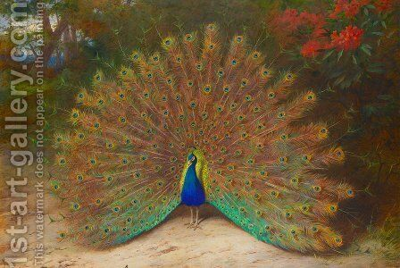 Peacock and Peacock Butterfly by Archibald Thorburn - Reproduction Oil Painting