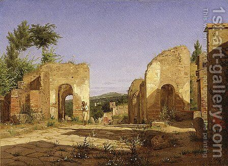 Gateway in the Via Sepulcralis in Pompeii by Christen Kobke - Reproduction Oil Painting