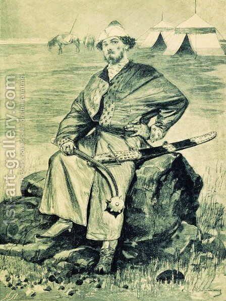 Alyosha Popovich. Illustration for the book Russian epic heroes by Andrei Petrovich Ryabushkin - Reproduction Oil Painting