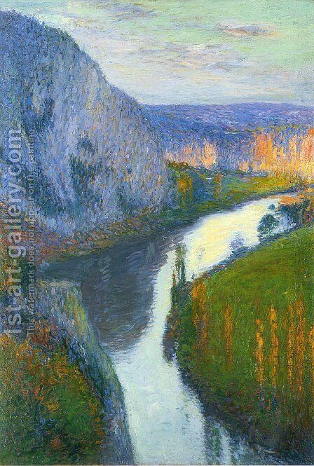 View of the Lot of Saint Cirq Lapopie by Henri Martin - Reproduction Oil Painting
