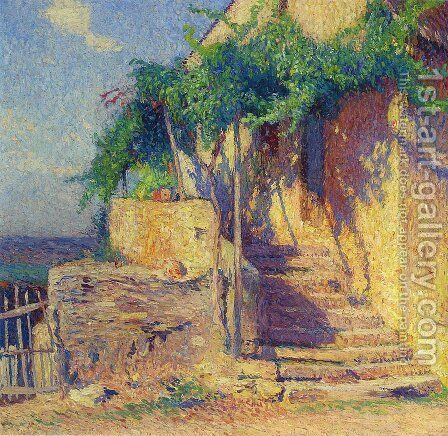 House with Vine and Staircase by Henri Martin - Reproduction Oil Painting