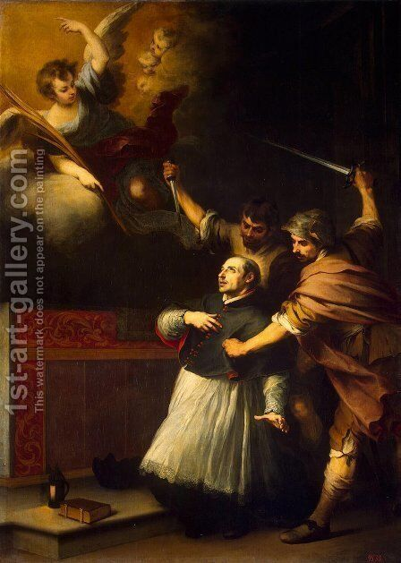 Death of the Inquisitor Pedro de Arbues by Bartolome Esteban Murillo - Reproduction Oil Painting