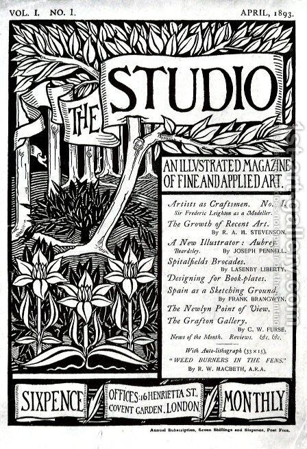The Cover of The Studio Volume 1 by Aubrey Vincent Beardsley - Reproduction Oil Painting