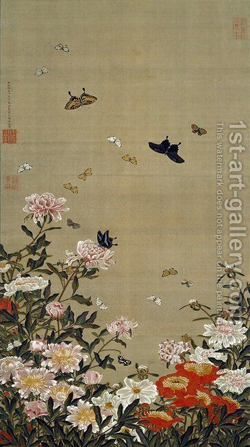 Peonies and Butterflies by Ito Jakuchu - Reproduction Oil Painting