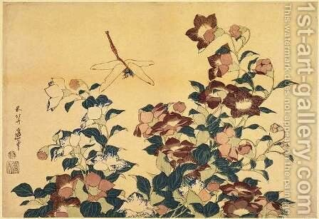 Bluebells and Dragonflies by Katsushika Hokusai - Reproduction Oil Painting