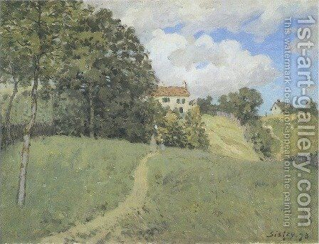 Landscape with Houses by Alfred Sisley - Reproduction Oil Painting