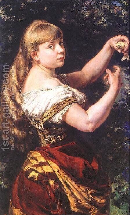 Portrait of a daughter Beata by Jan Matejko - Reproduction Oil Painting