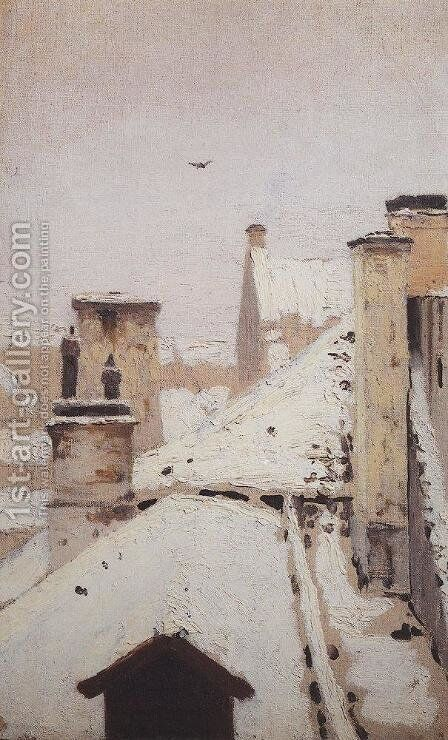 Roofs. Winter by Arkhip Ivanovich Kuindzhi - Reproduction Oil Painting