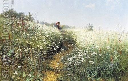A woman under an umbrella on a flowering meadow by Ivan Shishkin - Reproduction Oil Painting