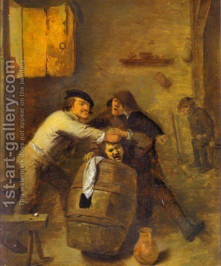 Peasants Quarrelling in an Interior by Adriaen Brouwer - Reproduction Oil Painting